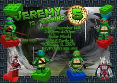 Lego Teenage Mustant Ninja Turtle Birthday Invitation | Kustom Kreations Star Wars Birthday, Star Wars Party, Ninja Turtle Birthday, Ninja Turtles, Lego Birthday Invitations, Birthday Cakes, Lego Cake, Minecraft Cake, Monster High Cakes