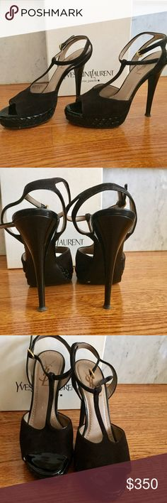 Yves Saint Laurent Ebene 90 Slingback Abache Cuoio Stunner YSL T strap suede with braided patent leather platform and heels. Tiny scuff on the suede on one side of the shoe. Comes from a pet and smoke free home. Offers welcome! Don't miss out! Yves Saint Laurent Shoes Platforms