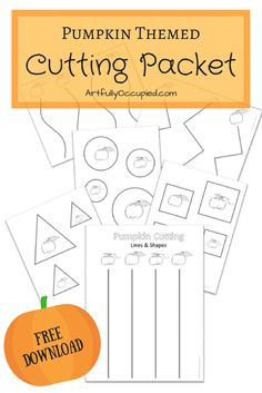 Pumpkin Themed Cutting Packet | Visual Motor Worksheets | Preschool and School Age Activities | Pediatric Occupational Therapy | Visual Motor Integration | Fall Cutting Practice