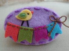 Bird and Banner Lilac Wool Felt Hair Clip  by BerryCoolDesigns