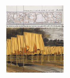 Christo (b. The Gates (Project for Central Park, New York City) Great memories walking The Gates in Central Park Antique Show, Land Art, Great Memories, Antique Prints, Central Park, New York City, Contemporary Art, Auction, Tapestry