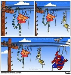 """Spidey gets himself tangled on the power lines. Wait.....what? NOT THE POWER LINES!!!!!!!!⚡"""