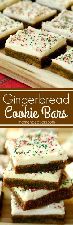 Soft & chewy gingerbread cookie bars with cream cheese frosting! A delicious Christmas dessert!!