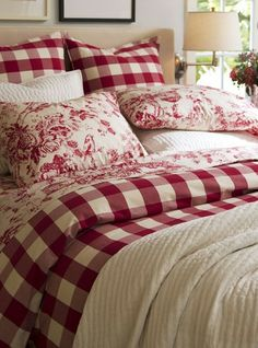 Summer style!! RED AND WHITE! Checked and toile and white makes  so very pretty and fresh bedding!