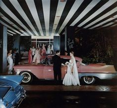 Glamorous dramatic entry at The  Beverly Hills Hotel, 1950s