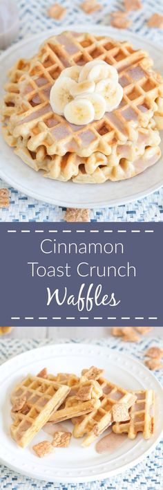 Cinnamon Toast Crunch Waffles are a playful nostalgic breakfast with cereal pieces mixed right into the waffle batter and a cinnamon-laced cereal milk glaze! Make them for a leisurely breakfast in bed for Valentine's Day Roscoes Waffle Recipe, Waffle Maker Recipes, Cinnamon Waffles, Cinnamon Toast Crunch, What's For Breakfast, Breakfast Dishes, Breakfast Waffles, Vegan Breakfast, Breakfast Recipes