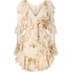 Folly Flutter Dress (11.313.495 IDR) ❤ liked on Polyvore featuring dresses, print, pink v neck dress, v neckline dress, flutter-sleeve dresses, zimmermann dresses and v neck dress