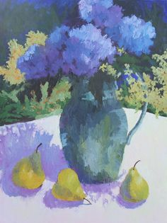 "Summer hydrangeas, painted in our backyard!""Blue Hydrangeas and Pears""   24""x18"" oil on stretched linen"