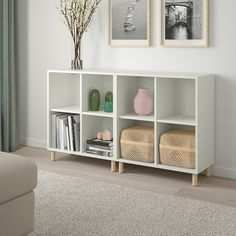 EKET cabinet combination with legs, white/wood | IKEA Indonesia Cube Storage Unit, Storage Spaces, Storage Organizers, Ikea Toy Storage, Ikea Storage Cabinets, Ikea Storage Furniture, Barbie Storage, Toy Storage Shelves, Living Room Toy Storage