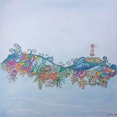Johanna Basford - Lost Ocean. Soft Pastel background.