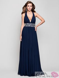 Sheath/Column V-neck Floor-length Chiffon Evening Dress - CDdress.com $148