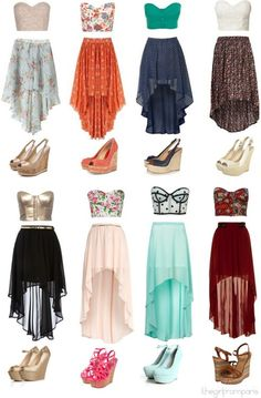 Cropped Bustiers High Low Skirt Wedges