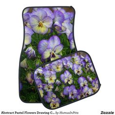 Abstract Pastel Flowers Drawing Car Mats