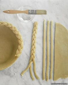 Braided Edge  Make a braided edge by   cutting 12-inch-long, 1/4-inch-thick strips of dough and braiding them together.   Brush the edge of the crust or the bottom of the braids with water; secure. Trim   braids equal to circumference.