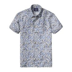 Scotch & Soda Short Sleeved Paisley Shirt (180 CAD) ❤ liked on Polyvore featuring men's fashion, men's clothing, men's shirts, men's casual shirts, mens casual short-sleeve button-down shirts, mens linen shirts, mens short sleeve linen shirt, mens paisley print shirt and mens patterned shirts