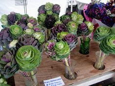 kale bouquets, saw something similar in a flower shop in san francisco. I love the idea of using vegetables in flower arrangements