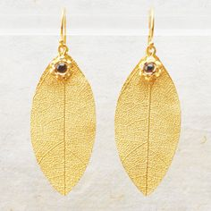Tallulah Earrings with vermeil leaf pendants and smoky quartz cabochons long) by Sara Blaine for Willow House Love Fashion, Autumn Fashion, Womens Fashion, Glitzy Glam, Promotion Party, Willow House, Alternative Metal, Liquid Gold, Leaf Pendant