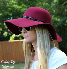 Burgundy Floppy Hat with Feather Band
