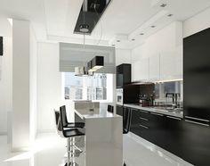 Cuisine bicolore design blanche et noire : meuble haut noir ...
