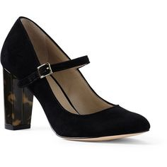 Lands' End Women's Mary Jane Pumps (£92) ❤ liked on Polyvore featuring shoes, pumps, black, lands end shoes, round toe shoes, mary jane pumps, black mary jane shoes and black shoes