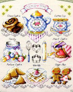 """Cookie Ttime"" Cross stitch pattern leaflet. Big Chart."