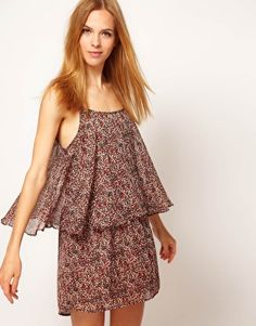 Enlarge Ganni Ditsy Floral Dress With Cape Detail