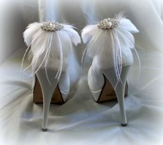 Bridal Feathered Shoe Clips - set of 2 - Sparkling Crystal Navette Rhinestone Accents - white. $48,00, via Etsy.