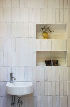vertical tiles, white handmade tiles