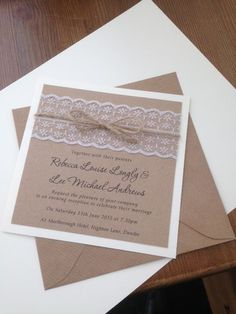 vintage recycled brown card pearl lace handmade wedding invitation