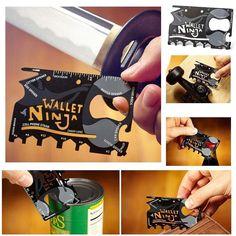 Fiyat:69  Ninja Multi Tool Kit ile ihtiyacınız olan herşey cüzdanınızda... Piknikte kampta seyahatte Ninja Multi Tool Kit ile konserve ve şişelerinizi açabilir tornavida ucu ile vidalarınızı sıkabilirsiniz. Paslanmaz çelik yapısı ile hayatınızı kolaylaştıracak