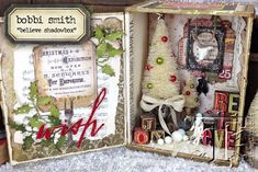 adorn your home for the holidays with this festive shadowbox from bobbi smith. there are so many details packed into this merry little masterpiece it's just bursting with christmas magic. click h...