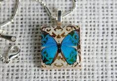 Blue Butterfly Scrabble Tile Pendant  GIFT with by ebardesignsbc