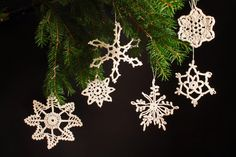 Set of 6 Crocheted Snowflake Ornaments by ADKArtsBoutique on Etsy, $15.00