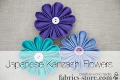 Tutorial: Japanese Kanzashi Fabric Flower http://www.fabrics-store.com/blog/2011/07/21/tutorial-japanese-kanzashi-fabric-flower/?utm_source=newsletter&utm_medium=email&utm_term=Subscribers&utm_content=01&utm_campaign=KanzashiFlowers