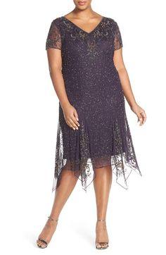 2da19213cab 1920s Cocktail Party Dresses Plus Size Womens Pisarro Nights Beaded  Handkerchief Hem Shift Dress Size 24W
