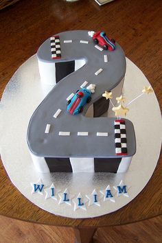 Race Car Party Cakes « kids party themes, birthday party ideas, party recipes, party games – The Speckled Freckle Party Place Race Car Birthday, Race Car Party, 2 Birthday Cake, Birthday Ideas, Race Track Cake, Race Car Cakes, Car Themed Parties, Cars Birthday Parties, Kids Party Themes