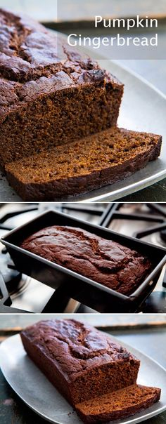 Pumpkin Gingerbread ~ Perfect for the holidays, richly flavored pumpkin gingerbread made with pumpkin purée, flour, butter, ginger, molasses, brown sugar, and lots of spices. ~ SimplyRecipes.com