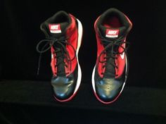 Men's Nike Max Air Basketball Shoes, Size 12 Medium, Pre-Owned, Red and Black  #Nike #BasketballShoes