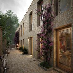Vier stroken woningen zijn georganiseerd langs semiprivate binnenstraten.