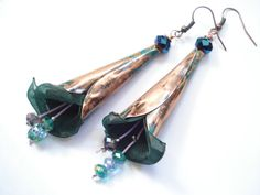Unique Handmade Copper Patina Earrings-Green Patina by AnnaRecycle