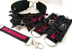 Black and Wine Lace Spike Pleated Kitten/Pet Play DDLG BDSM Collar, Cuff and Connector set