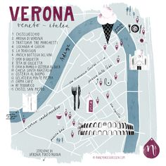 Illustrated map & new blogpost on Verona!  Verona, oh Verona. She is a beauty. I've been wandering the streets of this Venetian city in the North of Italy last week, drinking cappuccinos and eating gelatos. The Italian sun lifted our spirits and brought a non-stop smile to our faces. So did the food and the wine...