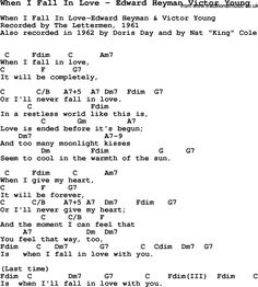 Song When I Fall In Love by Edward Heyman Victor Young, song lyric for vocal performance plus accompaniment chords for Ukulele, Guitar, Banjo etc. Harmonica Lessons, Jazz Guitar Lessons, Guitar Lessons For Beginners, Fall In Love Lyrics, Lyrics To Live By, Me Too Lyrics, Ukulele Chords Songs, Guitar Chords For Songs, Music Guitar
