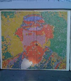 bottle cap art on garage door in SF. Stonewall Jackson, I think. Love the idea, not so into the particular portrait.