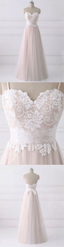 champagne lace tulle long prom dress, lace evening dress, formal dress