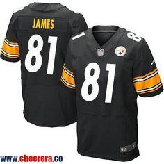 Men's Pittsburgh Steelers #81 Jesse James Black Team Color Stitched NFL Nike Elite Jersey