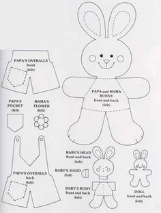Free Felt Bunny Pattern by morgan Felt Patterns, Applique Patterns, Craft Patterns, Sewing Patterns, Clothes Patterns, Felt Crafts, Easter Crafts, Crafts For Kids, Easter Ideas