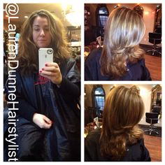 Bright Red Hair With Chunky Blonde Highlights By