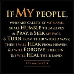 2 Chronicles If my people, who are called by my name, will humble themselves and pray and seek my face and turn from their wicked ways, then I will hear from heaven, and I will forgive their sin and will heal their land. Scripture Verses, Bible Verses Quotes, Bible Scriptures, Faith Quotes, Humble Quotes Bible, Scripture Journal, Religious Quotes, Spiritual Quotes, Spiritual Power