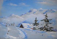 Artwork >> Breton Michel >> plenty of snow Peace Painting, Painting Snow, Winter Painting, Watercolour Painting, Diy Painting, Paintings Famous, Winter Illustration, Traditional Artwork, Winter Pictures